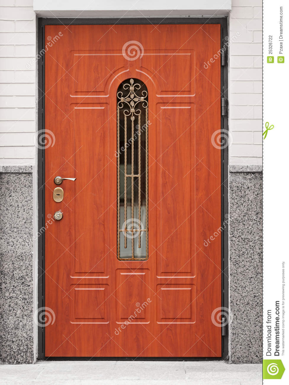 brown front door entrance to the building stock photography