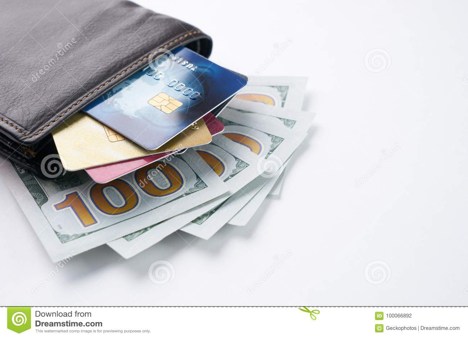Brown garnissent en cuir le portefeuille avec le crédit, le débit, les cartes de remise et les dollars