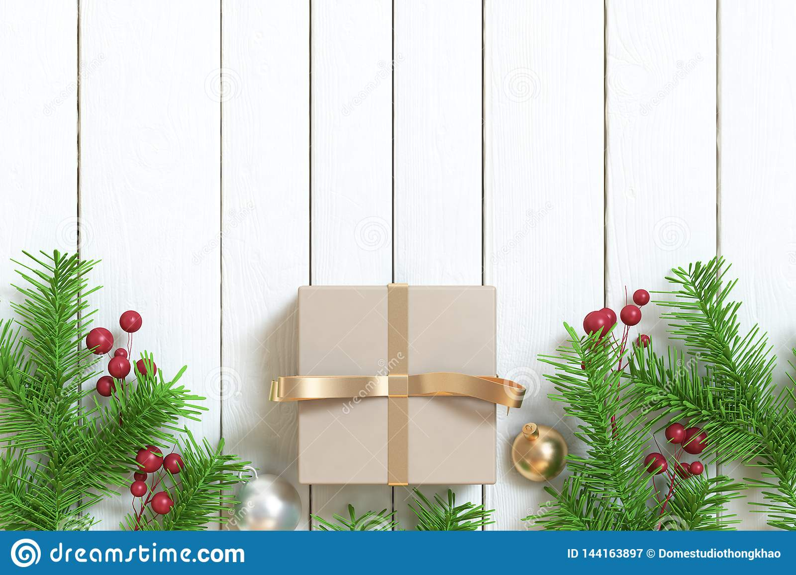 Brown gift box gold ribbon ball tree-leaf christmas background wood floor