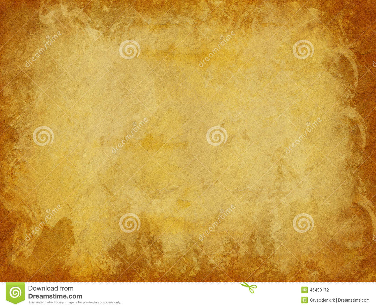 Brown and Gold Distressed Paper Texture Background with Dark Edges