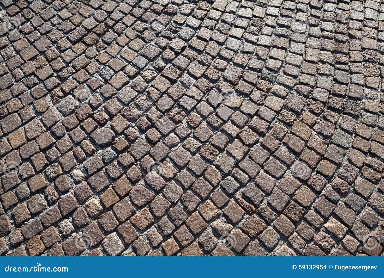 Brown Granite Cobblestone Road Pavement Stock Photo