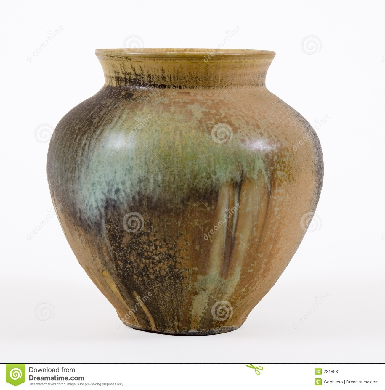 Brown Amp Green Stoneware Pot Stock Photo Image Of Curve