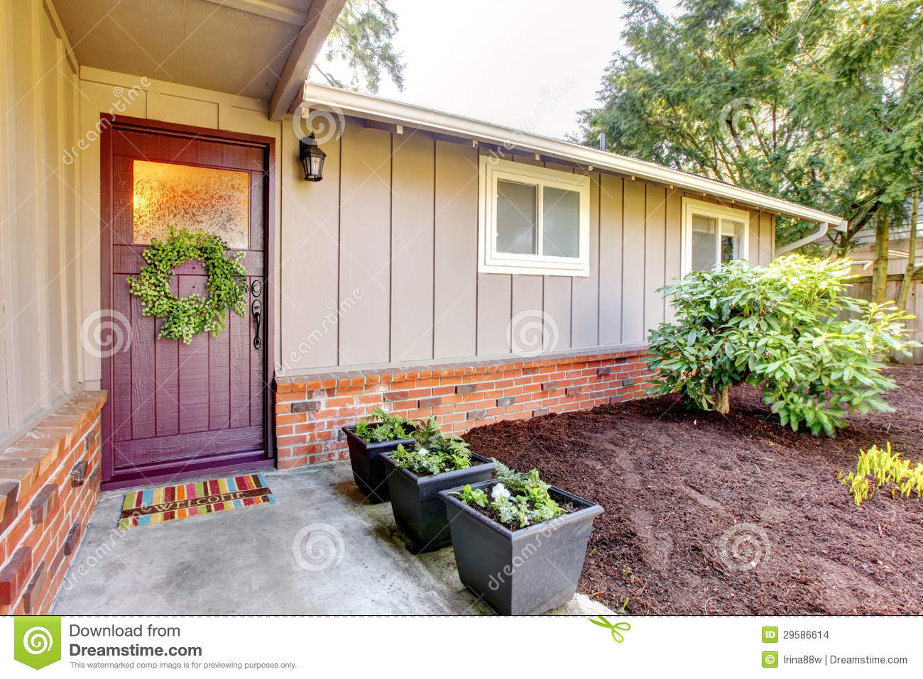 Red front door brown house - Brown Exterior Front House Landscape Red