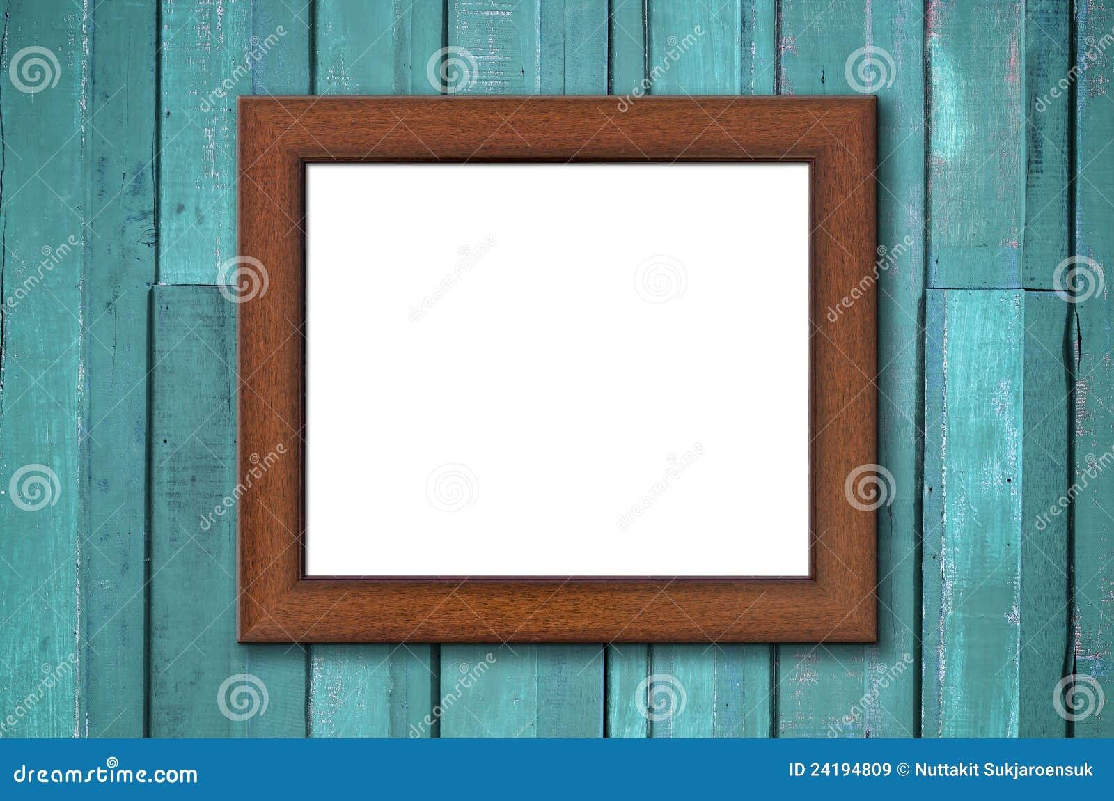 Brown-hölzerner Bilderrahmen Auf Grüner Wand Stockbild - Bild von ...