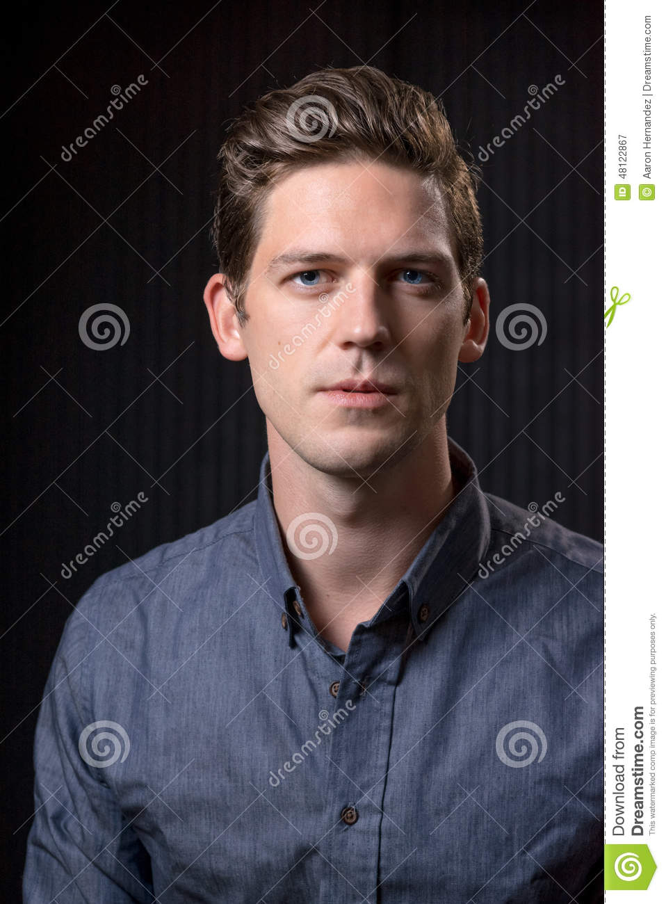 Brown Hair Blue Eyed Male Stock Image Image Of Toned 48122867