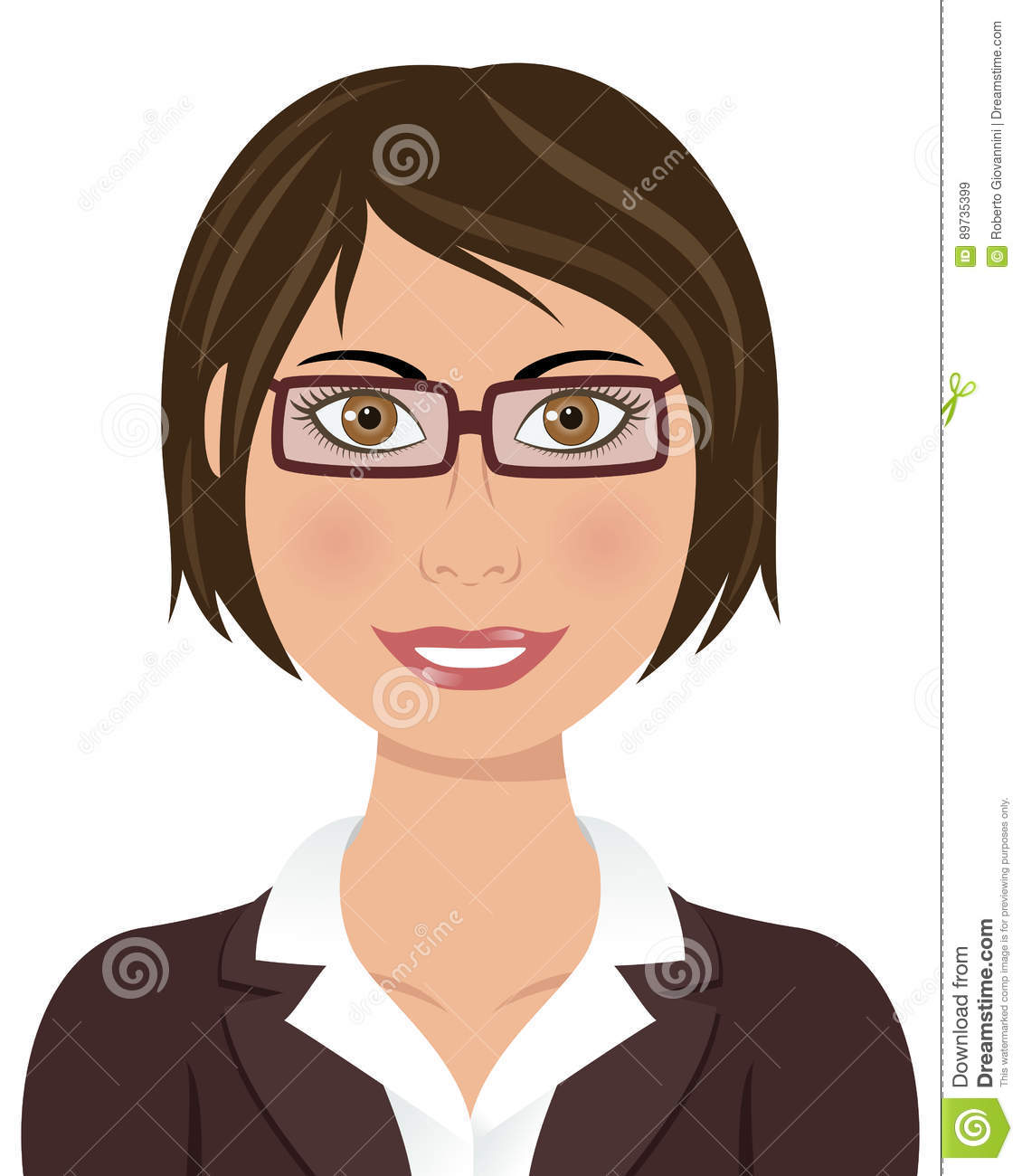 Portrait of a beautiful caucasian business woman smiling with brown hair brown eyes wearing suit and blouse with brown glasses isolated on white