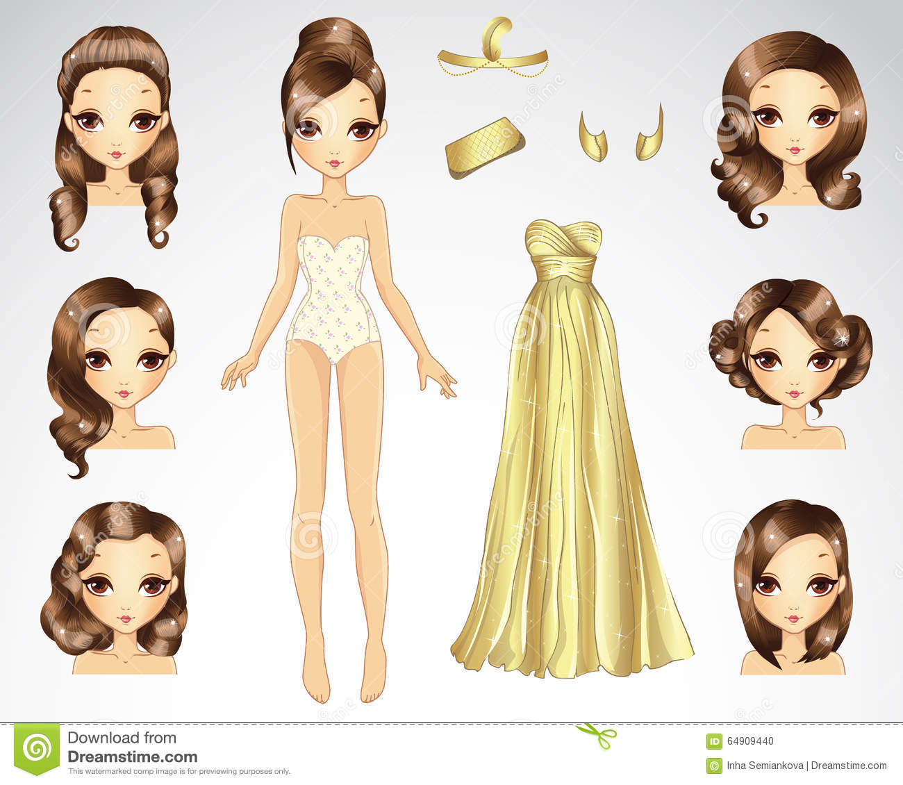 Brown Hair Set For Gold Paper Doll Stock Photo Image