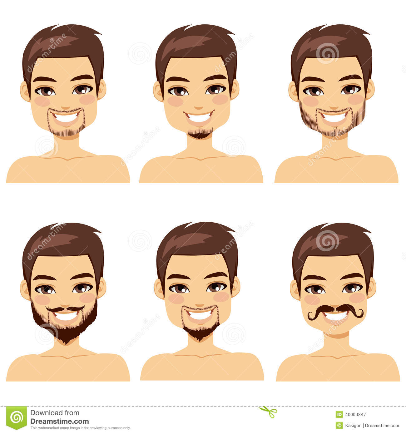 brown haired man beard styles stock vector image 40004347. Black Bedroom Furniture Sets. Home Design Ideas
