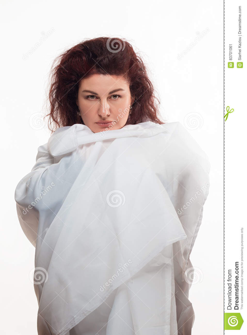 Brown-haired Woman In A White Sheet Stock Photo