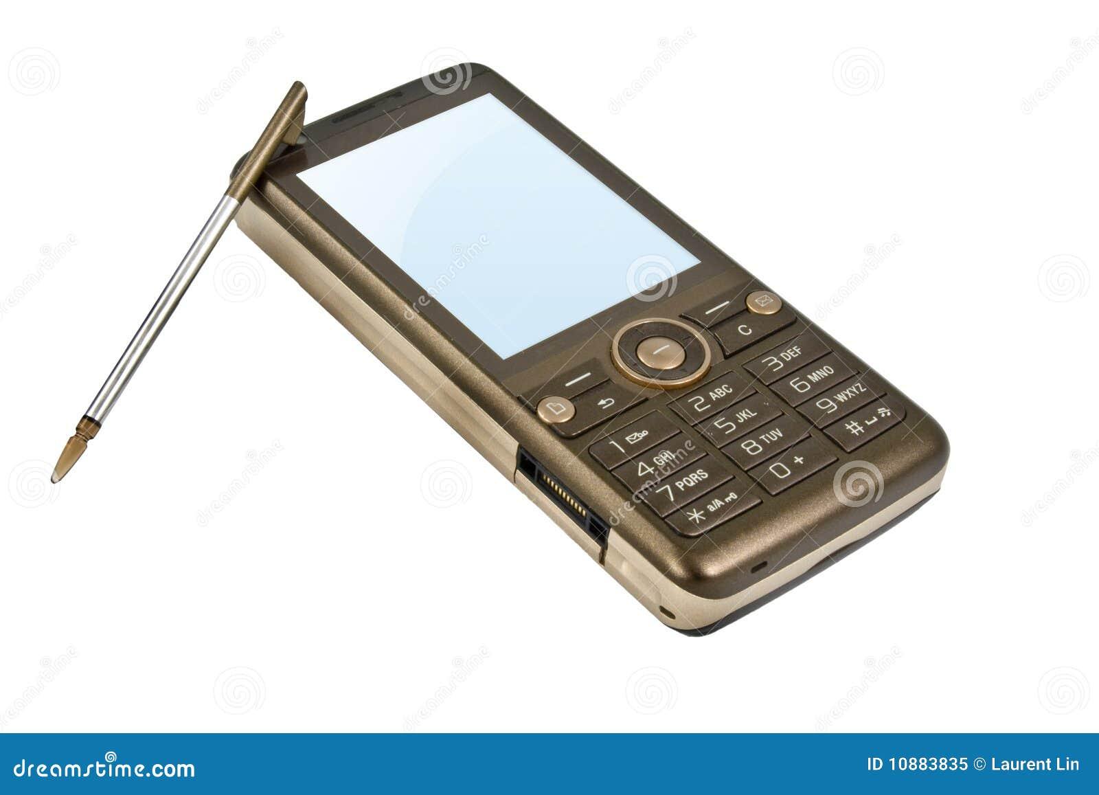 brown handy mit stift stockbild bild von braun telekommunikation 10883835. Black Bedroom Furniture Sets. Home Design Ideas