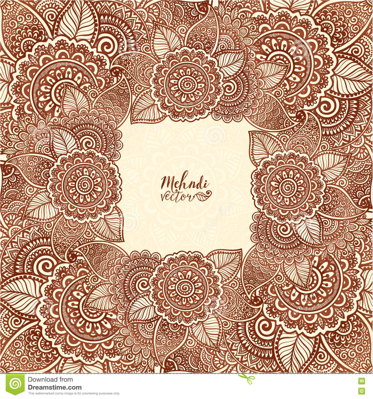 Henna Tattoo Colors: Brown Henna Colors Vector Floral Square Frame In Indian