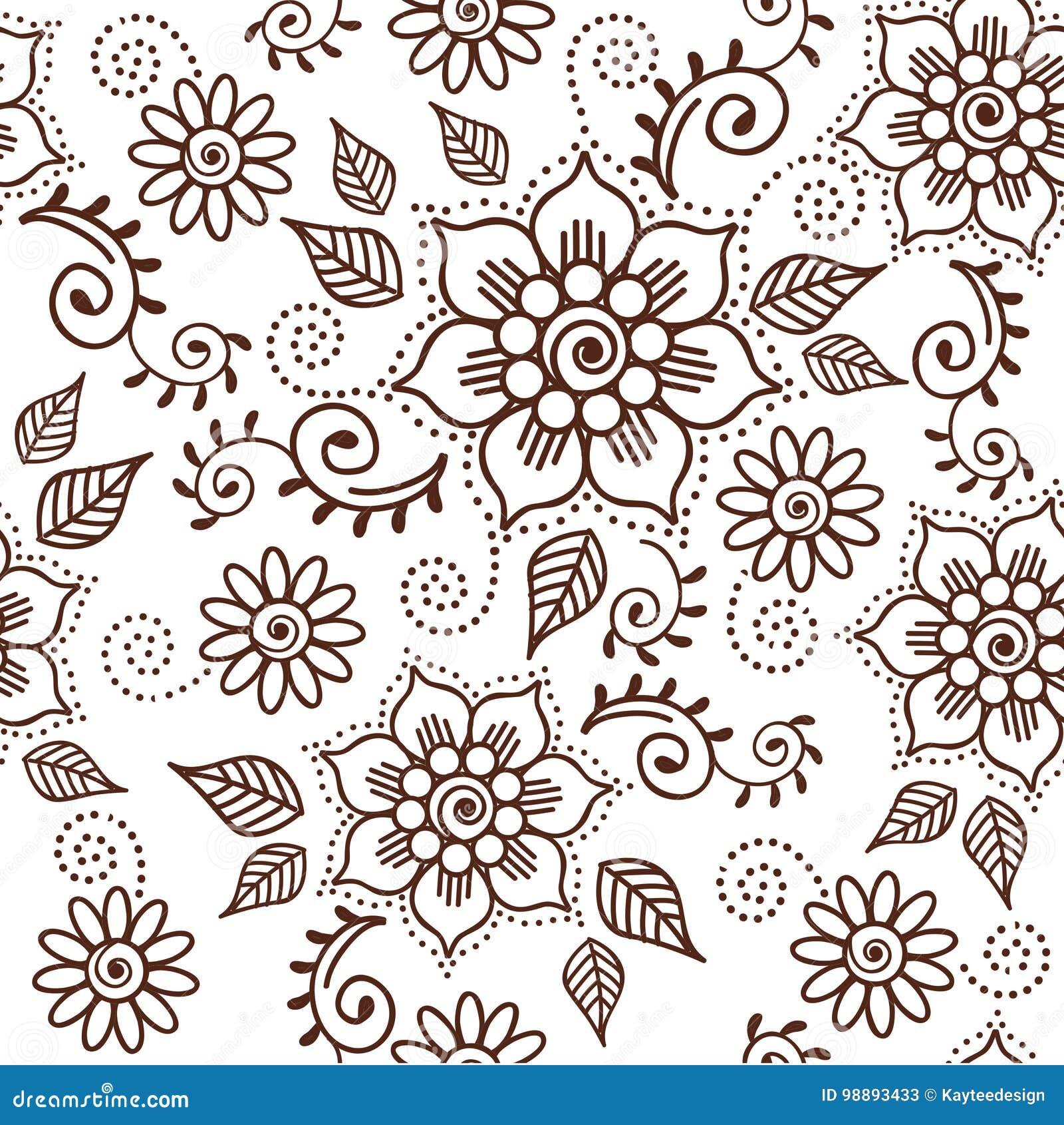 Brown Henna Lotus Repeating Pattern Spiritual Illustration 1 Stock