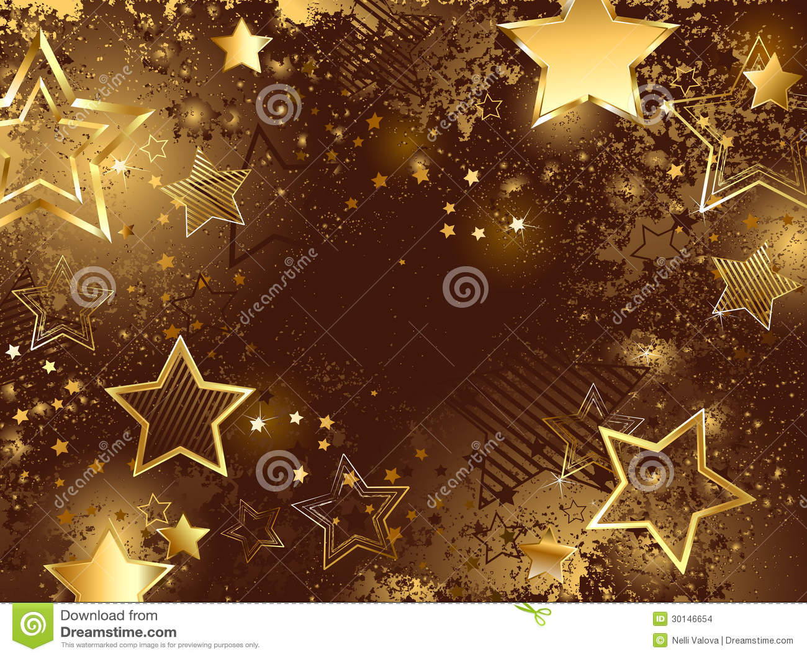 Brown-Hintergrund mit goldenen Sternen