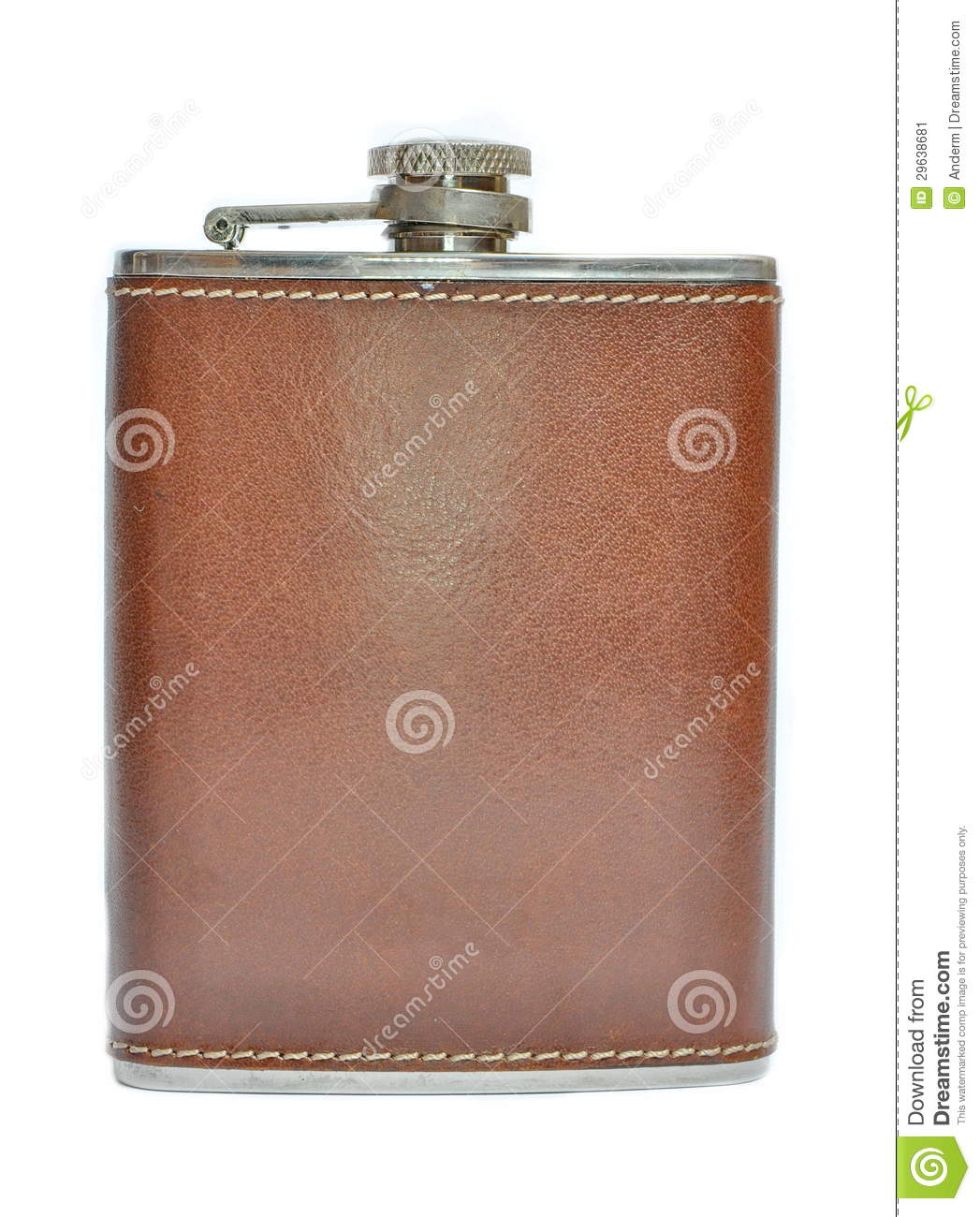 Brown Leather Flask For Alcohol Stock Image