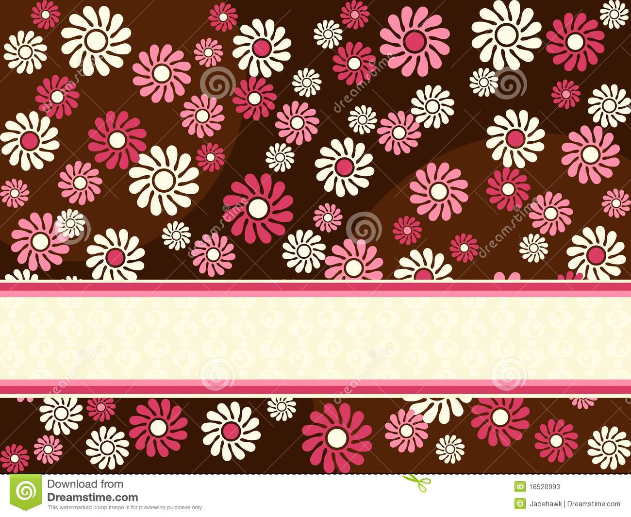 Brown Horizontal Retro Banner With Pink Flowers Stock Vector