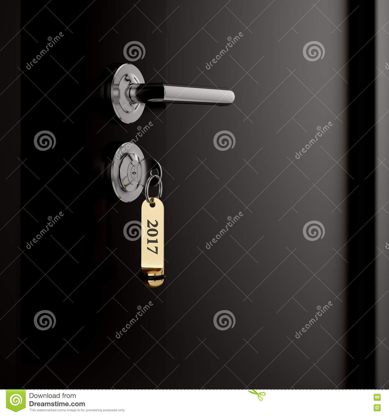 brown hotel room door with key lable number 2017 stock