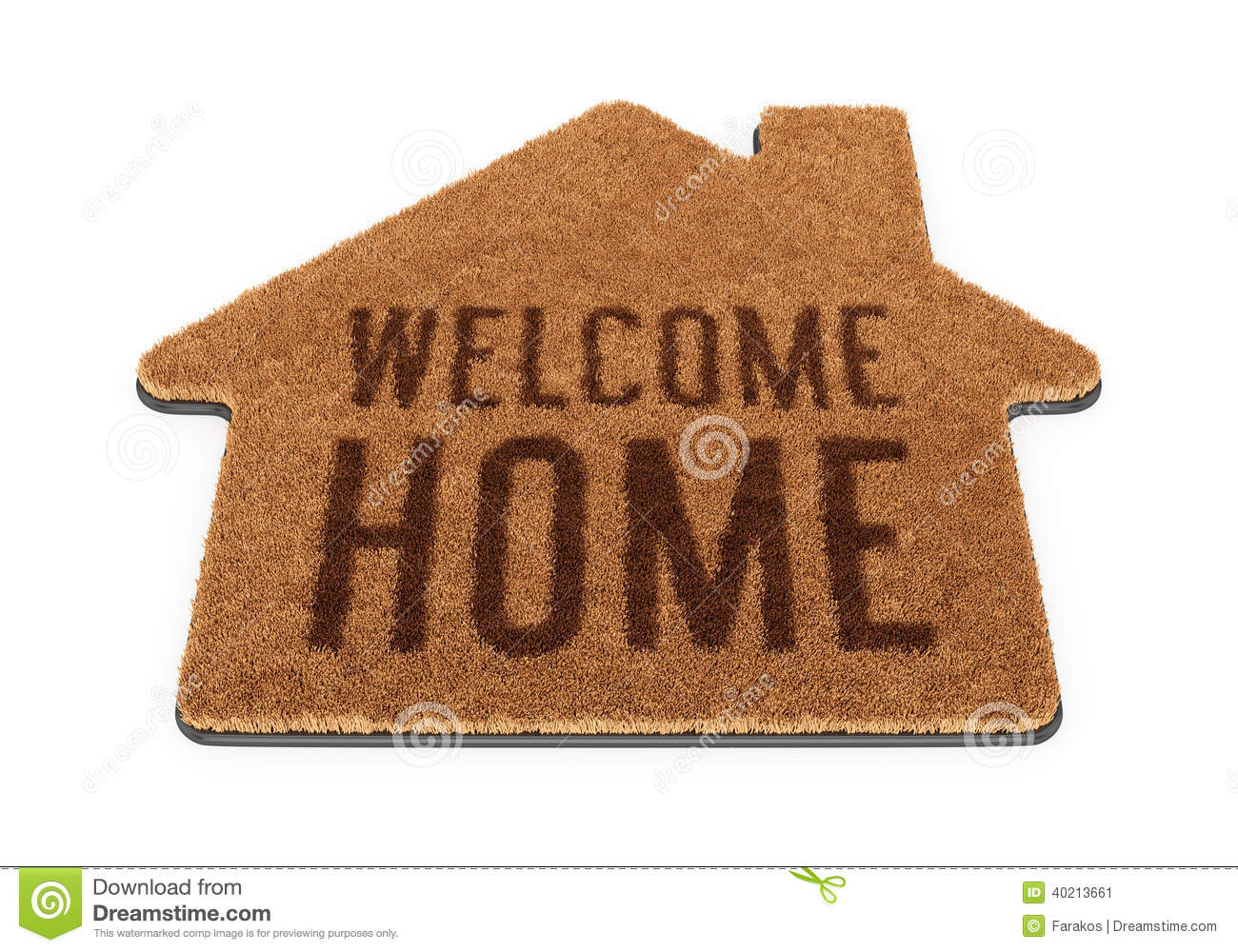 Brown House Shape Welcome Mat Stock Illustration Image