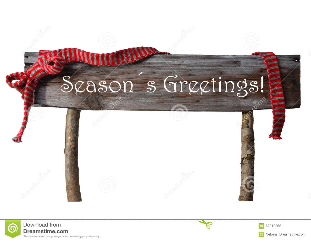 Brown Isolated Christmas Sign Seasons Greetings, Red ...