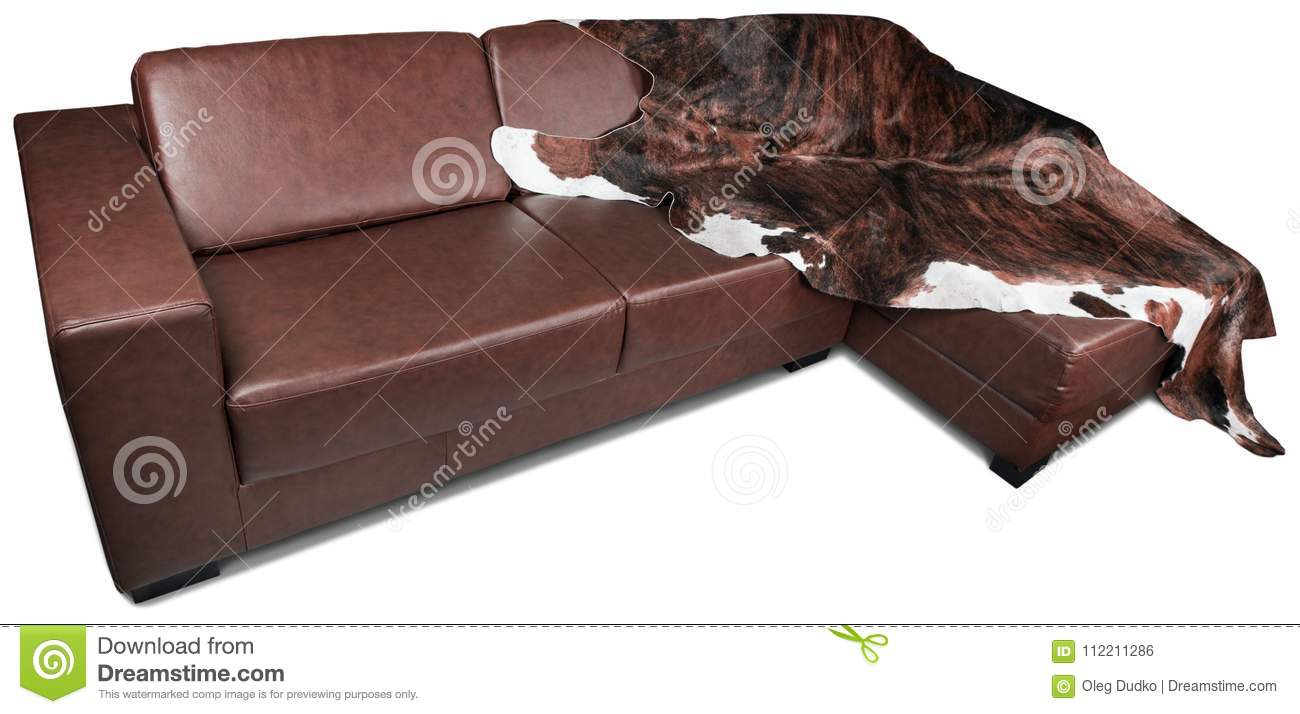 Brown Leather Corner Sofa With Furry Blanket - Stock Photo - Image ...