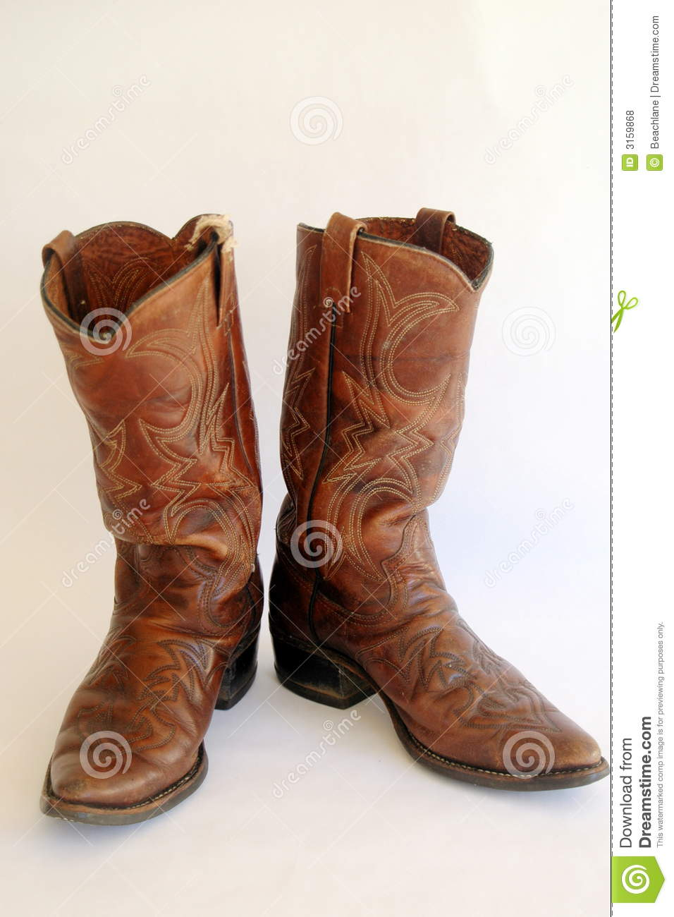 Brown Leather Cowboy Boots Royalty Free Stock Photos - Image: 3159868