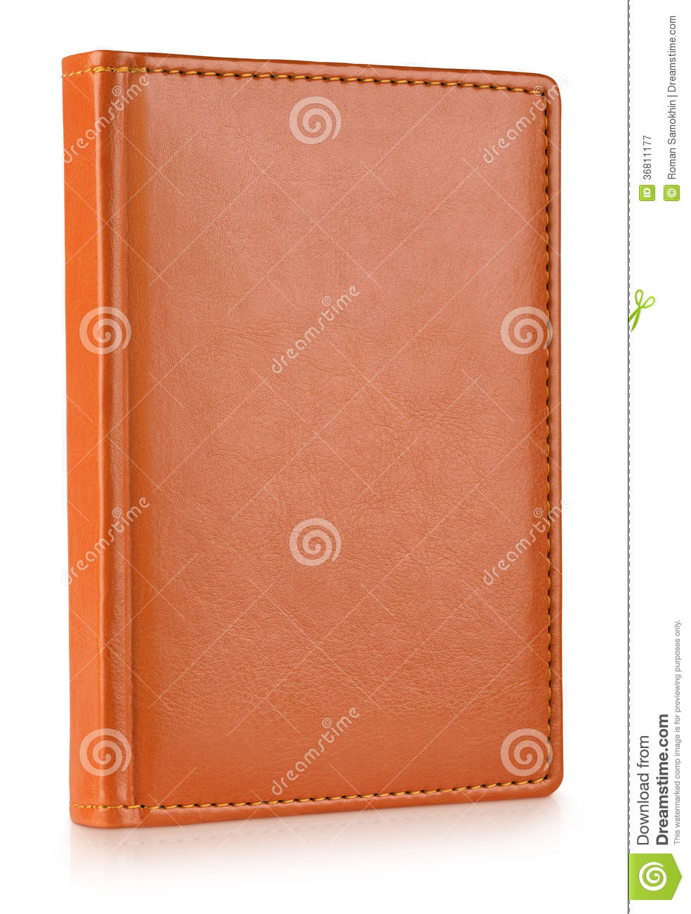 Book Cover White Zip : Brown leather diary book stock image of front