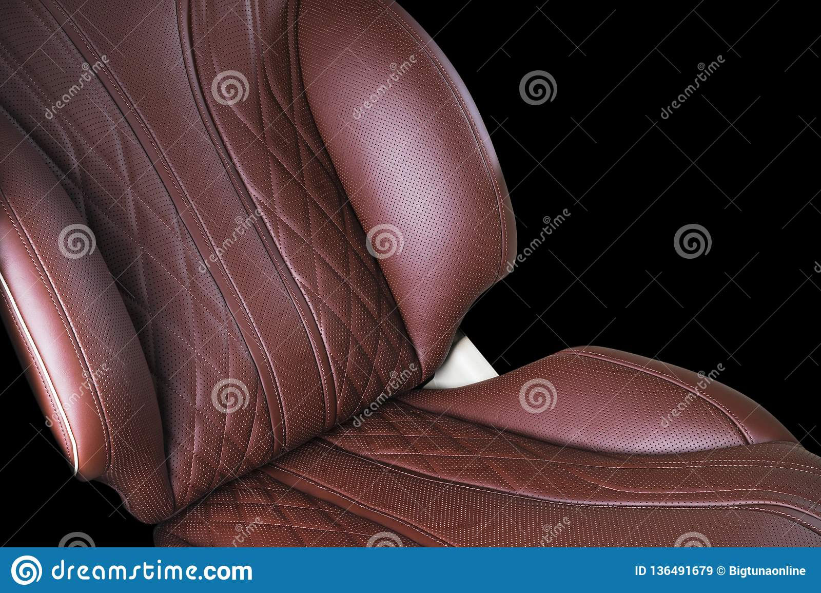 Brown Leather Interior Of The Luxury Modern Car Perforated Leather Comfortable Red Seats With Stitching Isolated On Black Backgro Stock Image Image Of Drive Design 136491679