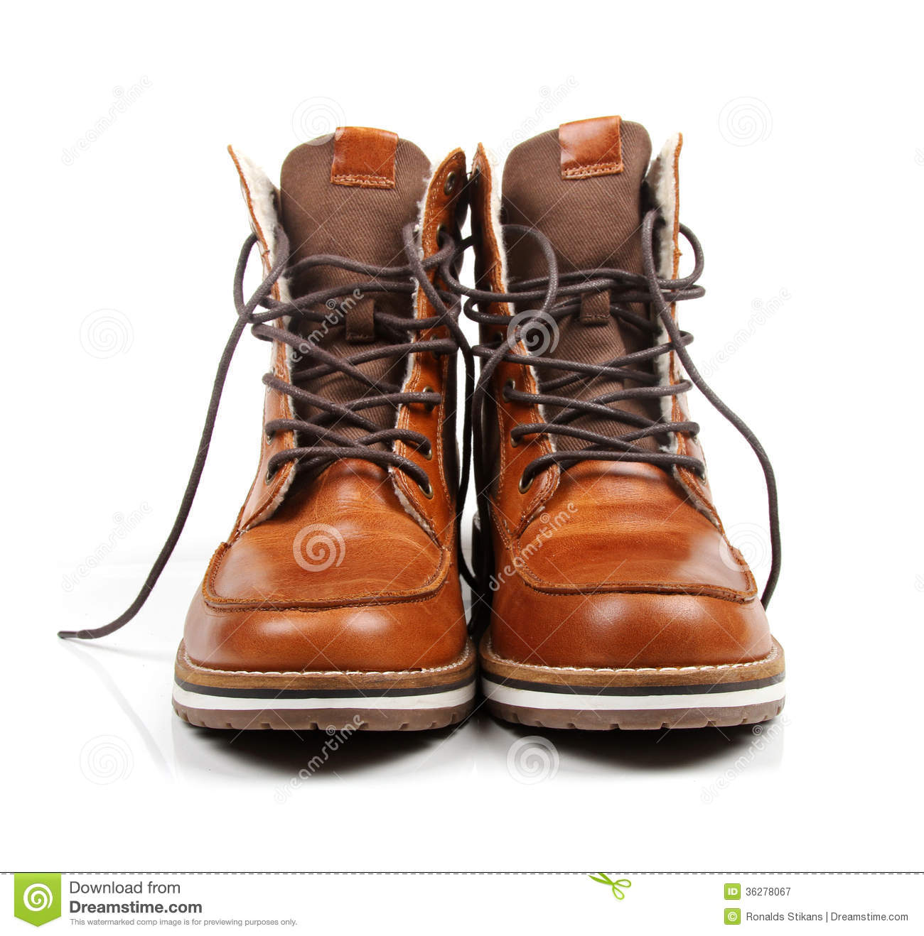 Brown Leather Men's Boots Isolated On White Royalty Free Stock ...