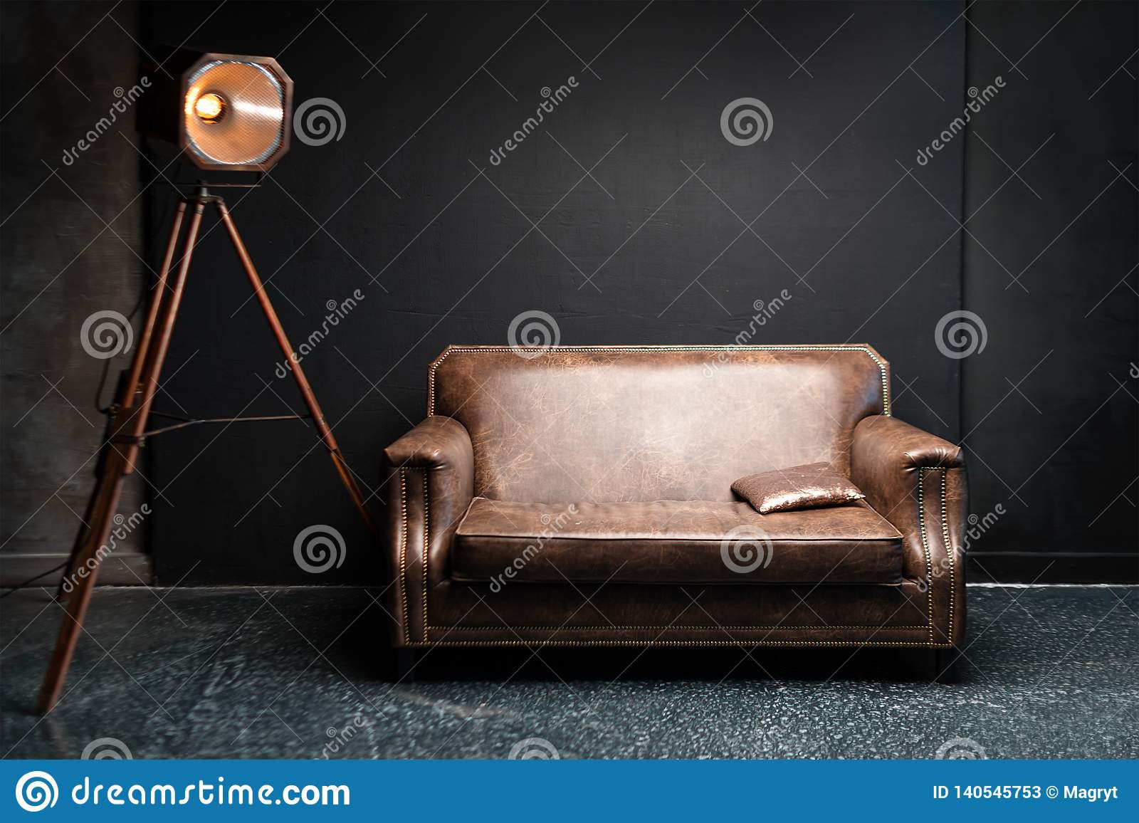 Incredible Brown Leather Sofa In Dark Loft Interior Cement Black Unemploymentrelief Wooden Chair Designs For Living Room Unemploymentrelieforg