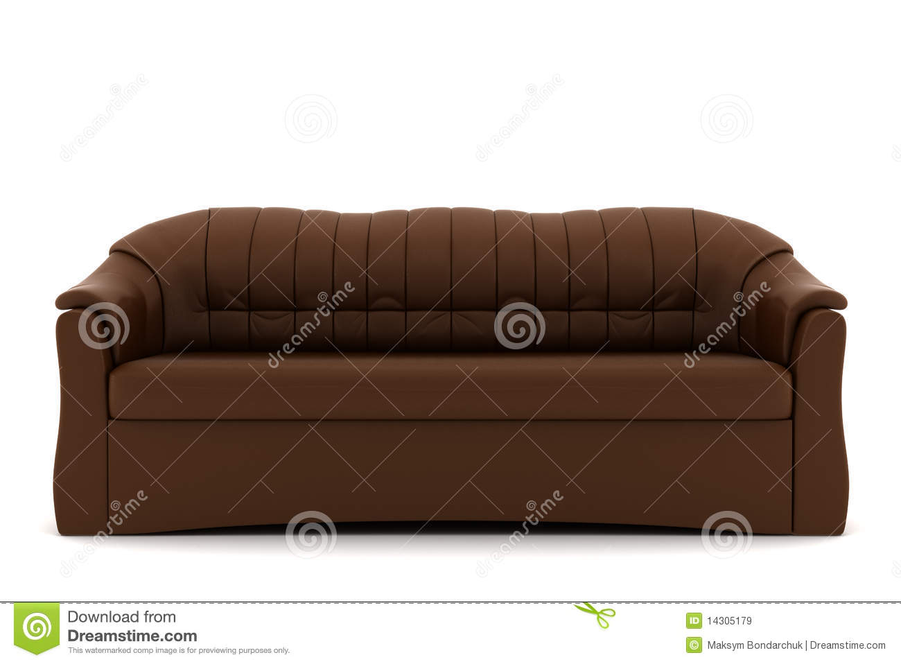 Brown Leather Sofa Isolated On White Background Royalty