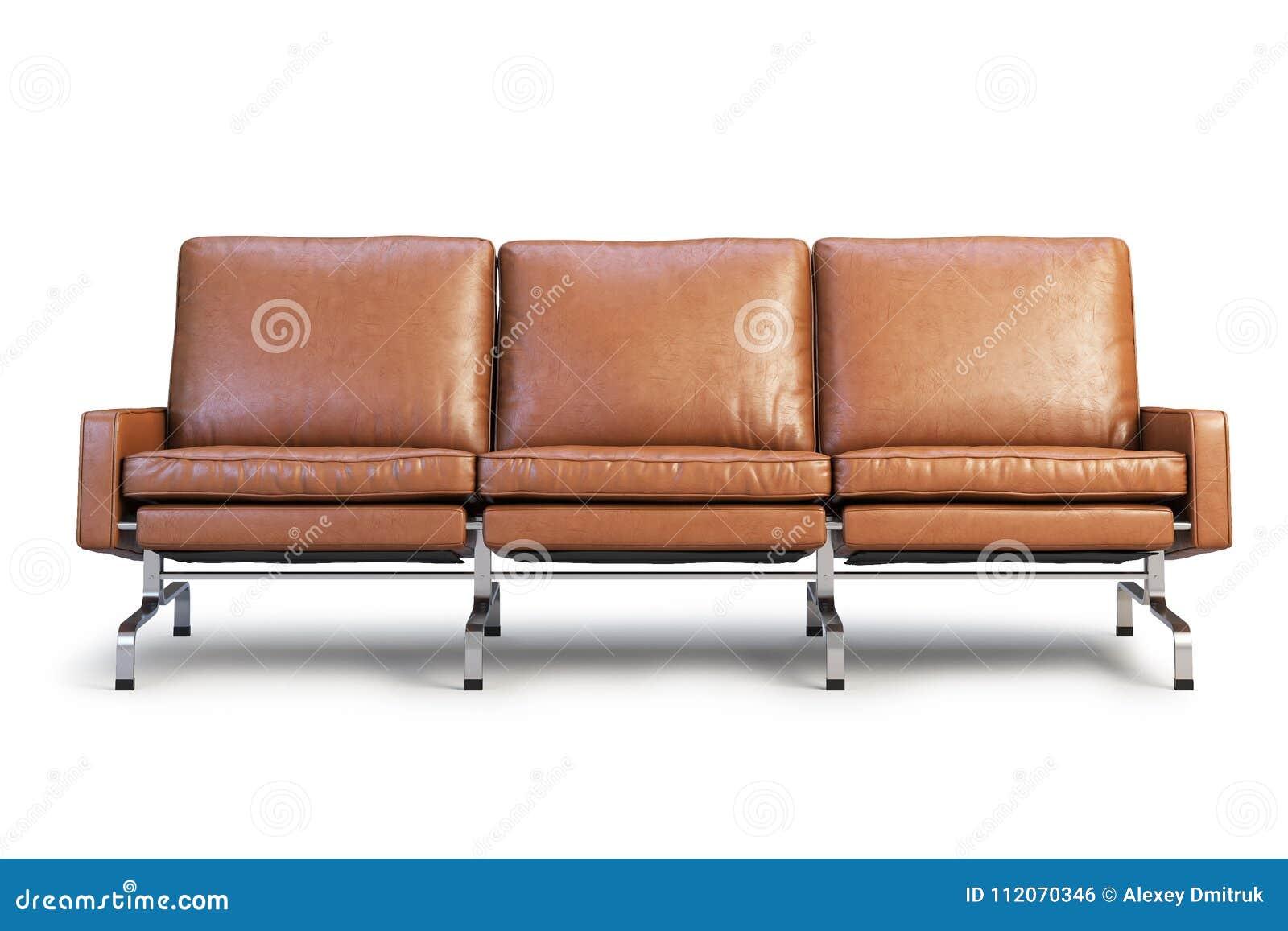 Brown Leather Sofa Three Seat Sofa 3d Render Stock Illustration