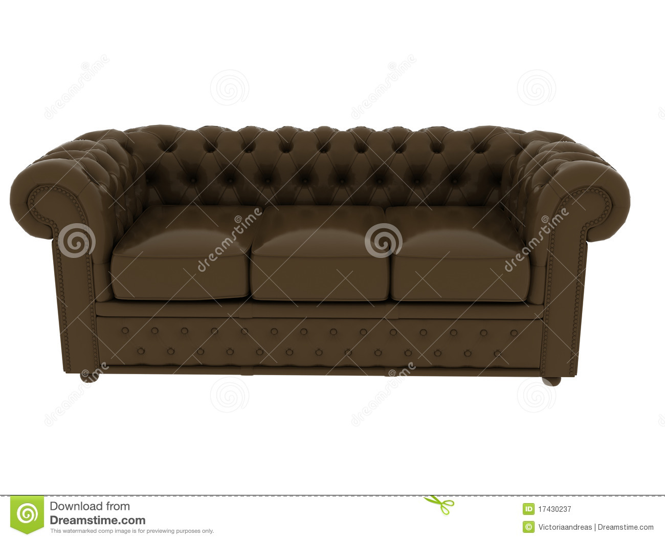 Brown Leather Sofa On White Background Royalty Free Stock