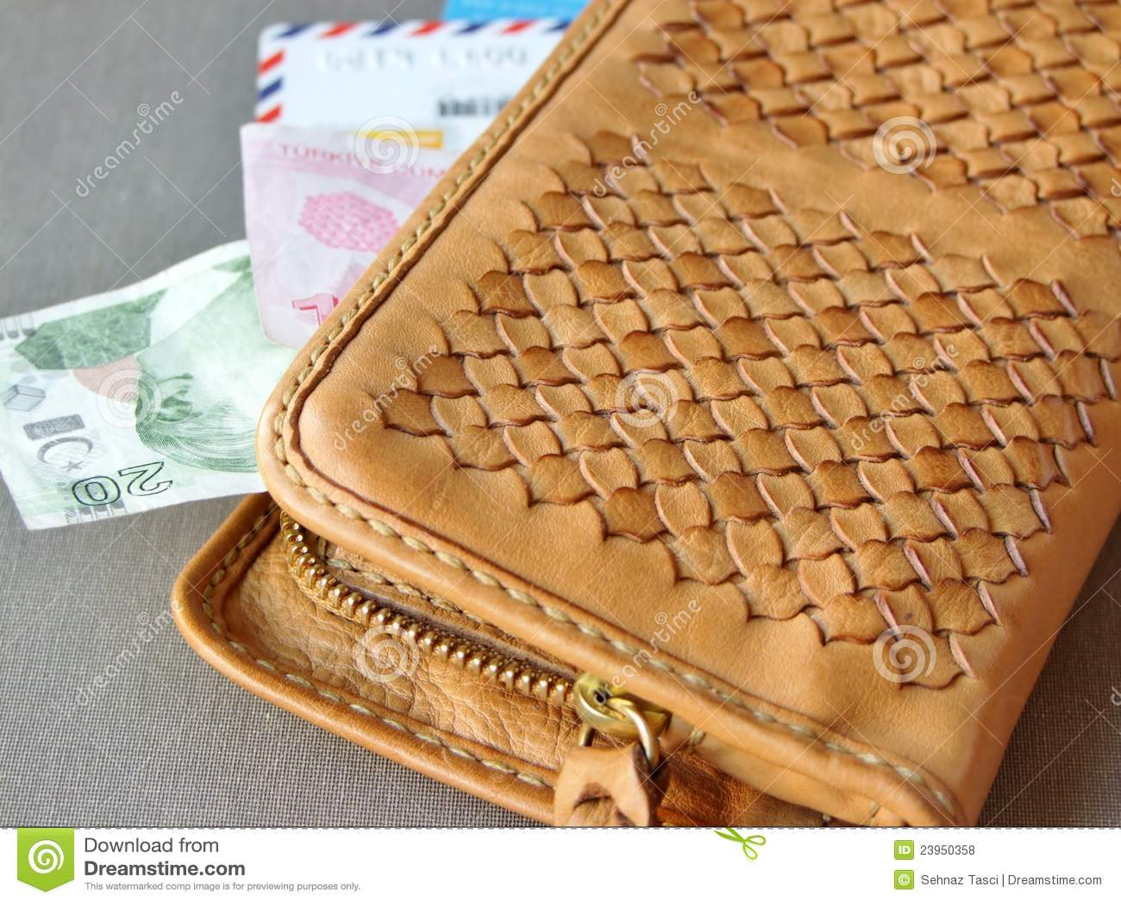 Brown-lederne Mappe mit Geld und Karten