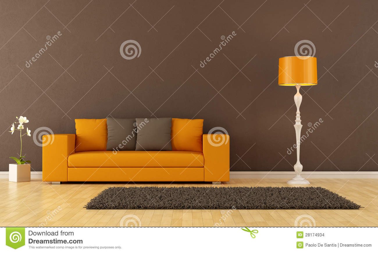 Orange And Brown Living Room Orange And Brown Living Room Royalty Free Stock Photography