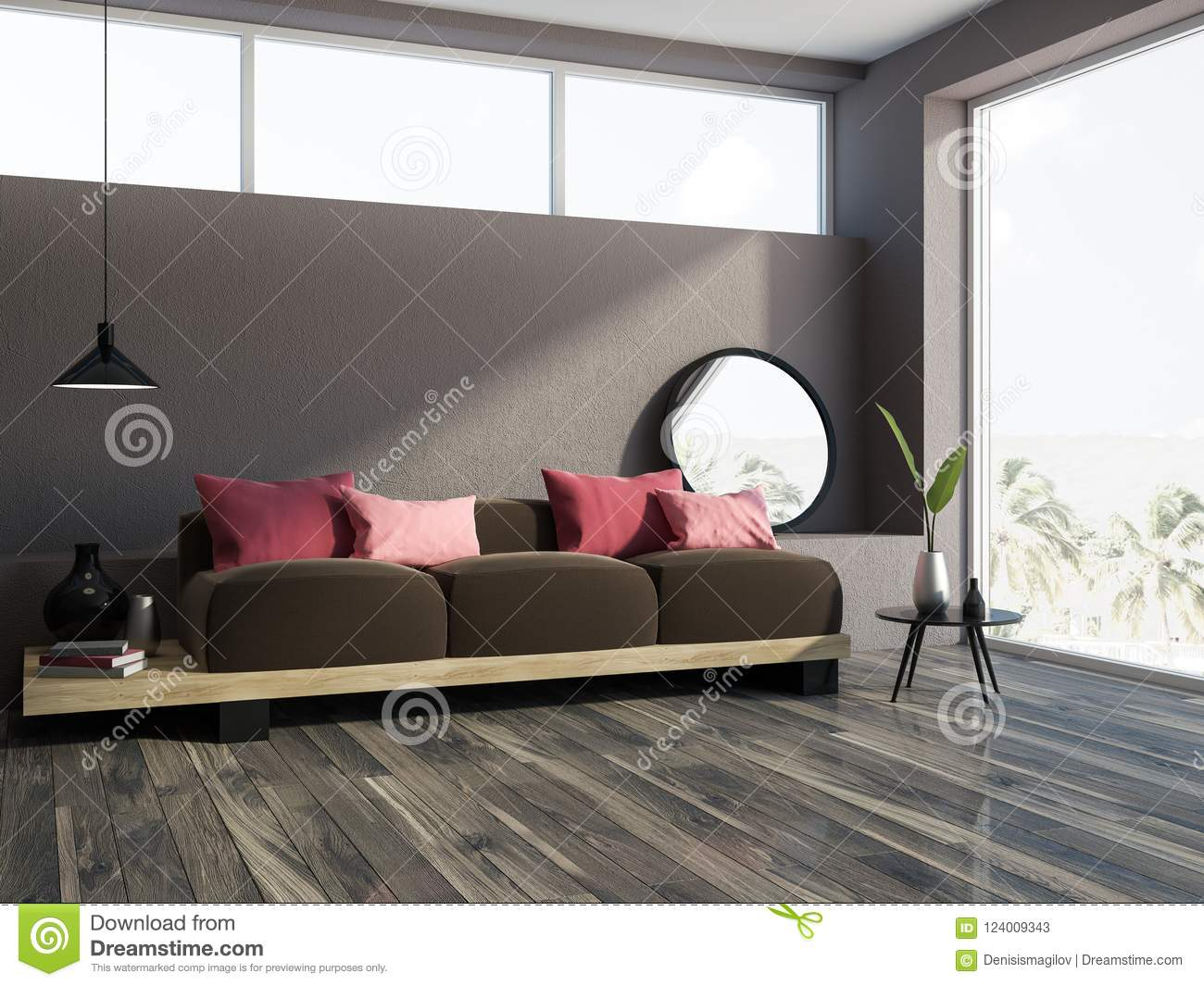 Brown Sofa Red Cushions Brown Living Room Corner Stock Illustration ...