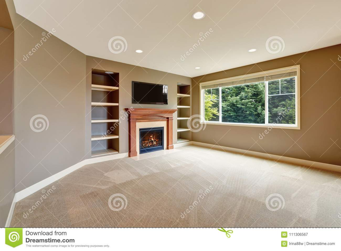 Brown Living Room Interior With Fireplace And Bookshelves ...