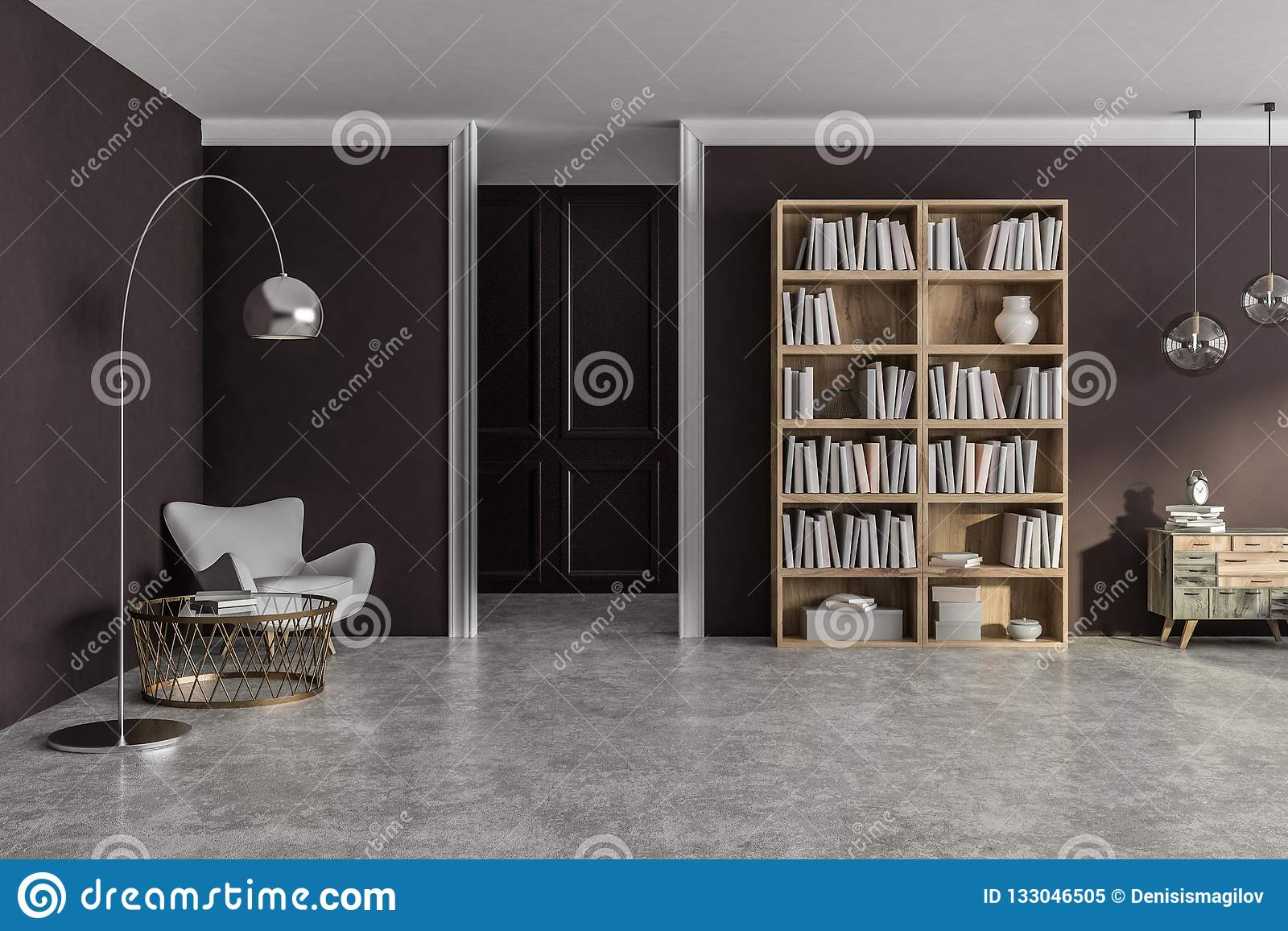 Brown Living Room Interior Stock Illustration Illustration