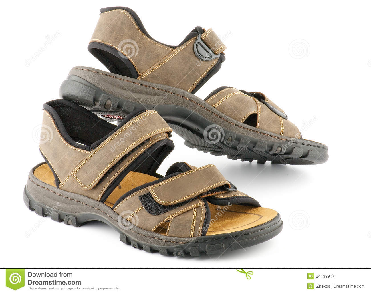 Brown man s Shoes Sandals with Velcro fastener