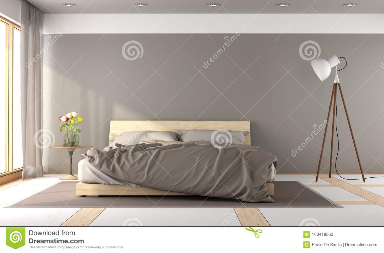 Brown master bedroom stock illustration. Illustration of design ...