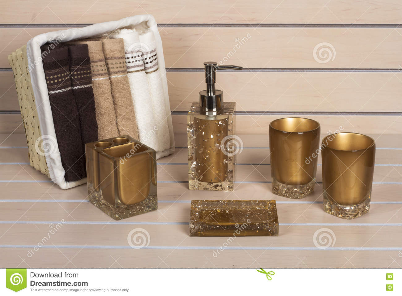 Brown Modern Bathroom Accessories With Towel Basket Stock Photo Image Of White Brush 71499786