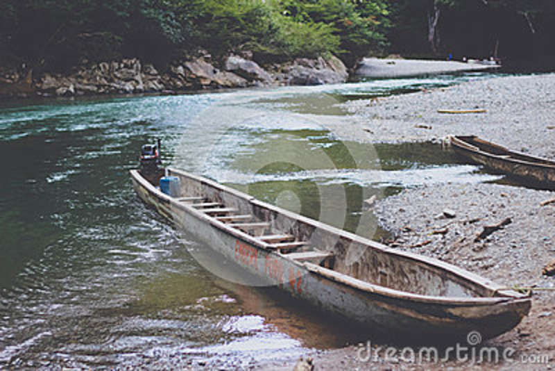 Download Brown Motor Boat on River stock image. Image of free - 83009503