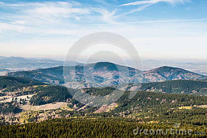Download Brown Mountain Ranges Covered With Green Trees Under Blue Sky Stock Image - Image of nature, photo: 83024265