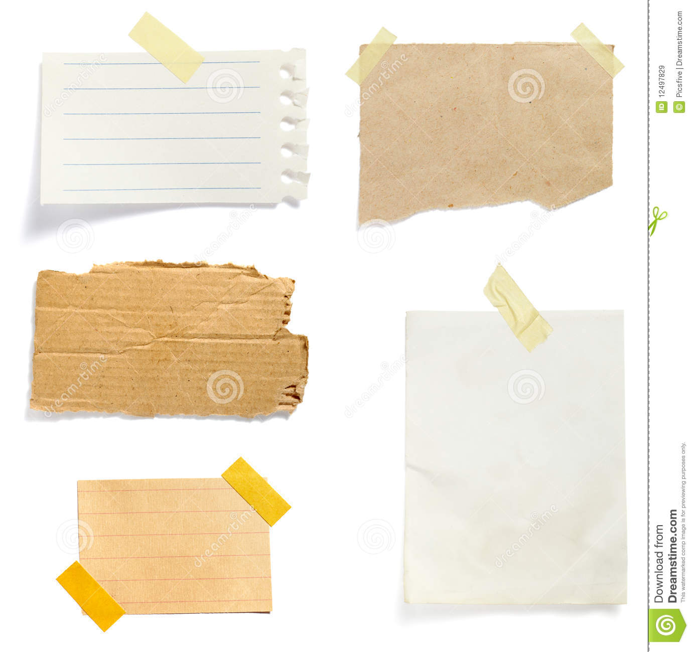 Collection of old note paper paper on white background each one is in