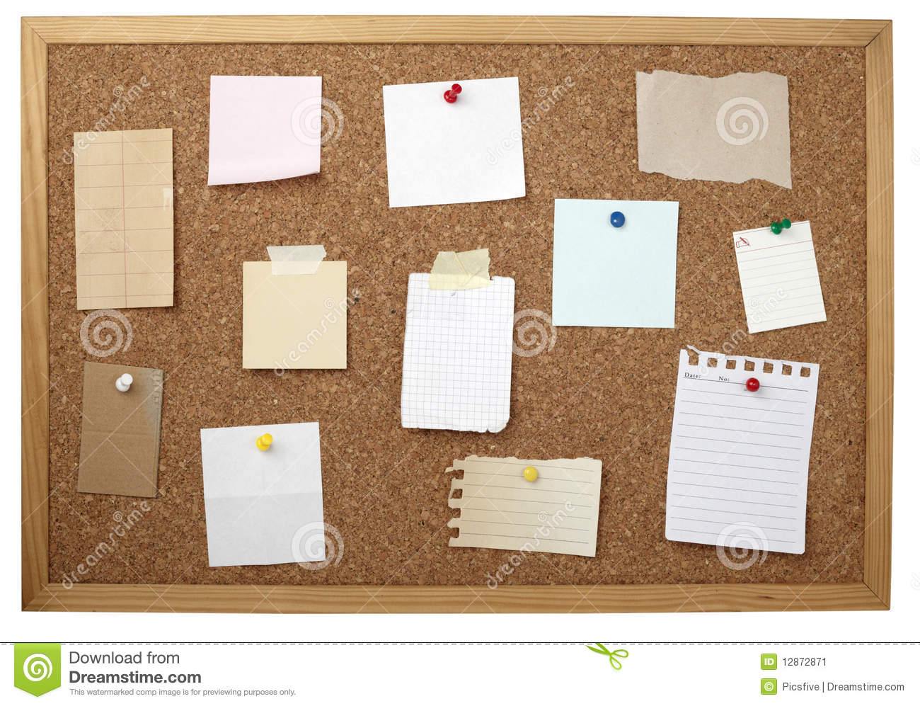 Brown Old Paper Note Background Cork Board Stock Image