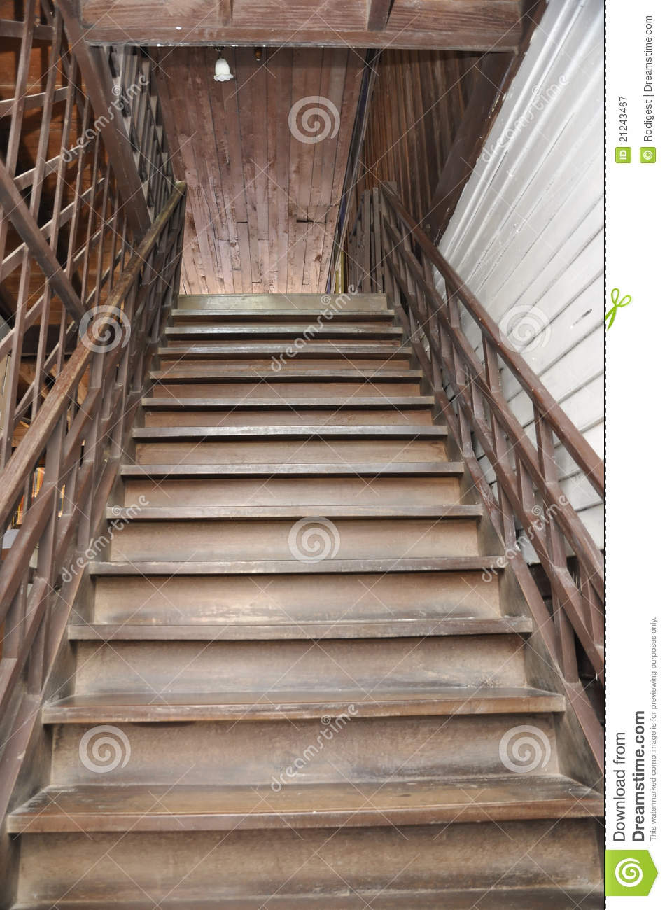 Brown Old Style Wood Home Ladder Stock Image Image Of Interior
