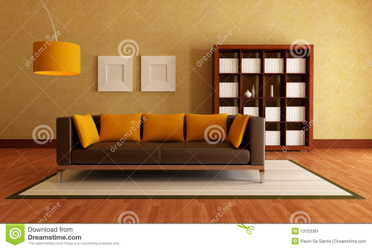 brown and orange living room stock image - image: 13153381