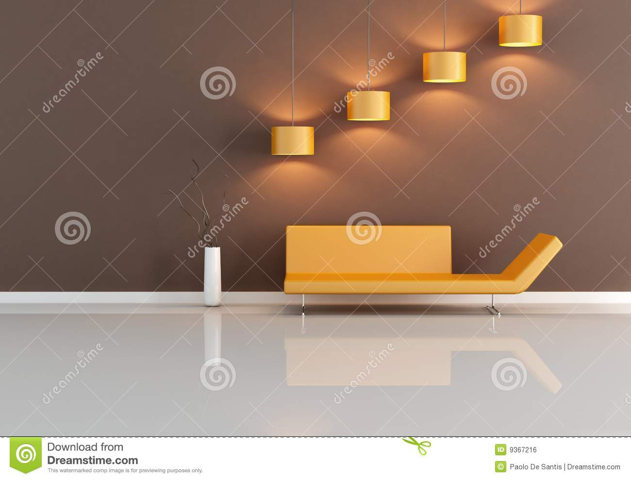 Orange And Brown Living Room Royalty Free Stock Photography