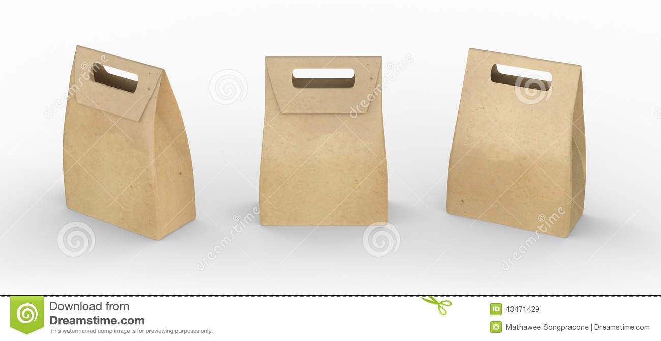 Brown Paper Bag Folded Package With Handle Clipping Path