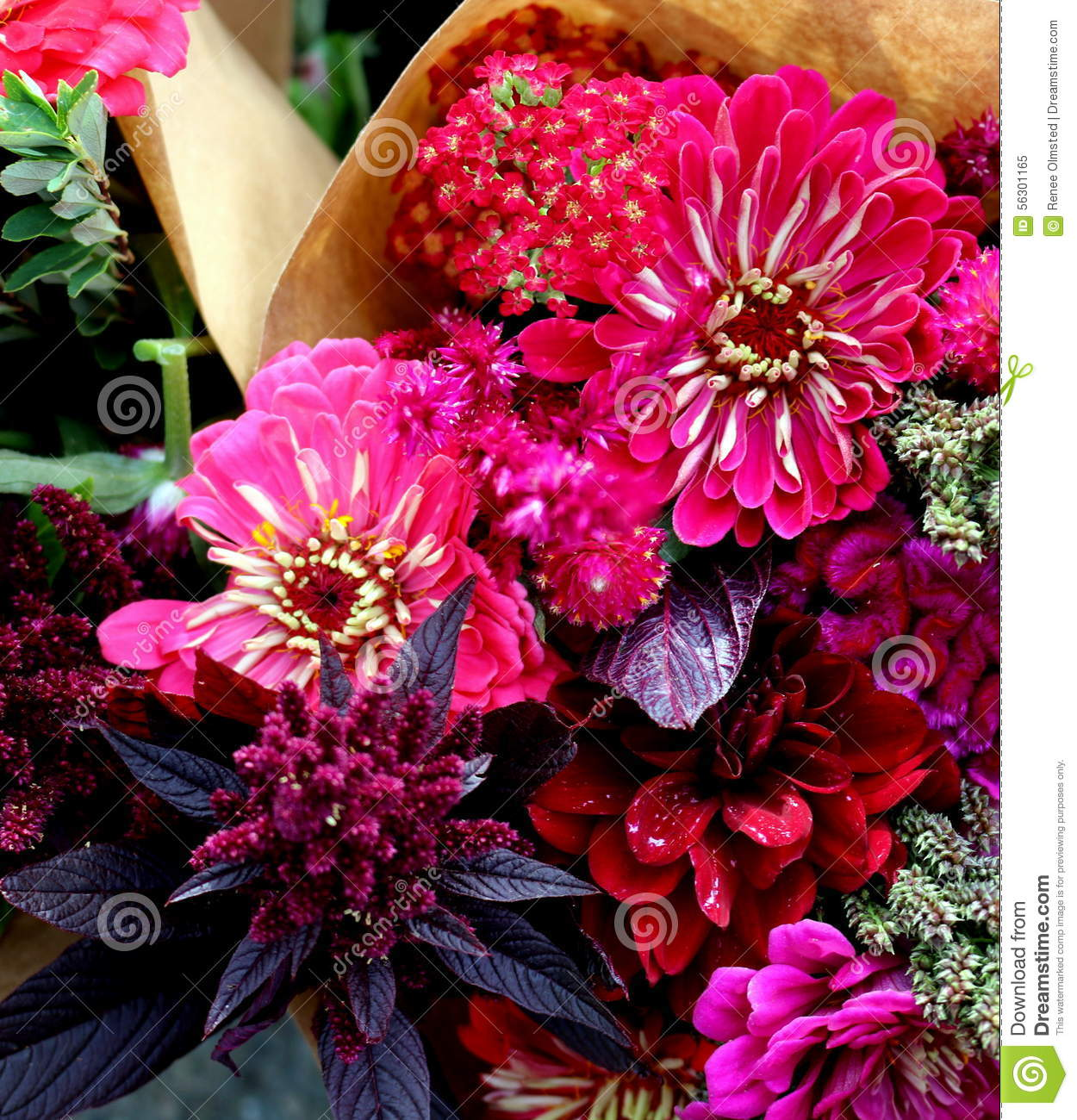 Brown Paper Bouquets Stock Image Image Of Buds Petals 56301165