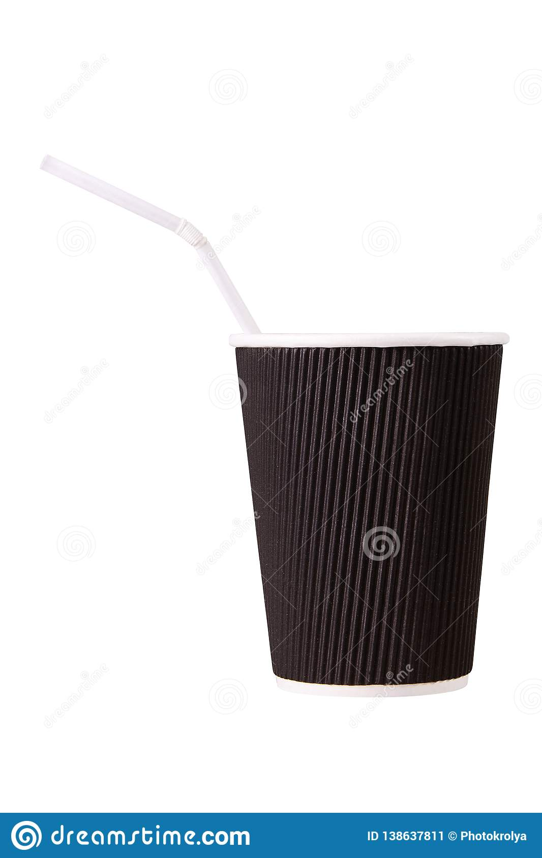Brown paper coffee cup with straw isolated on white background.