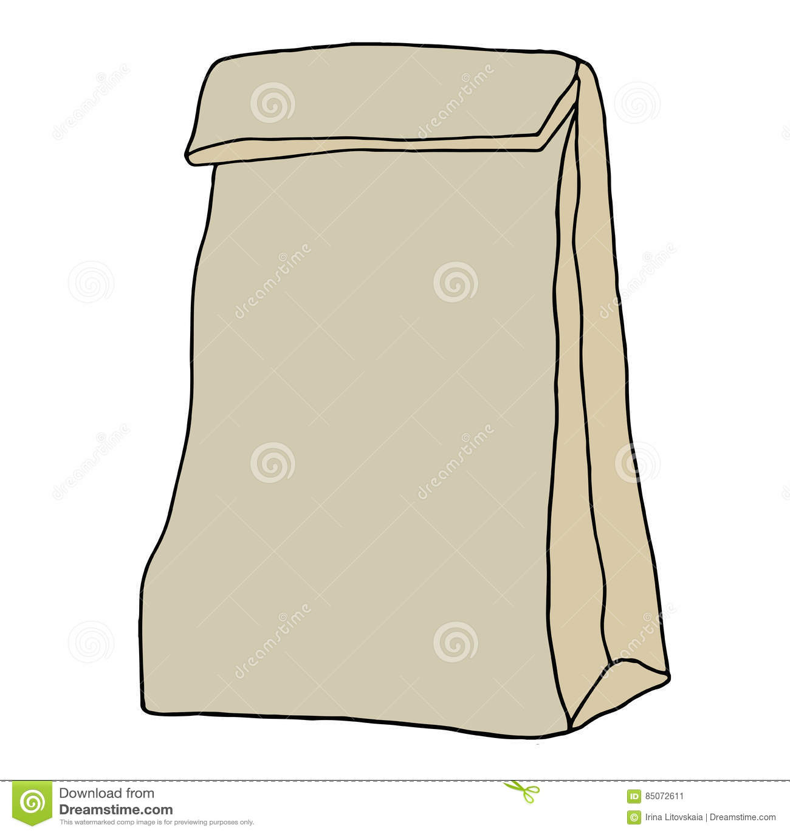 Paper bag sketch - Brown Paper Lunch Bag Hand Drawn Sketch